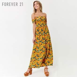 Forever 21 (フォーエバー 21) - Forever 21 フラワーオフショルダーマキシワンピース