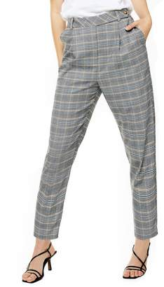 Topshop High Waist Tapered Plaid Trousers