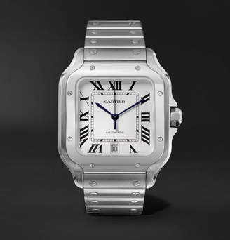 Cartier Santos 39.8mm Interchangeable Stainless Steel And Leather Watch