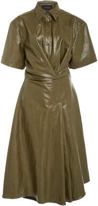 Cédric Charlier Asymmetric Belted Vinyl Shirt Dress