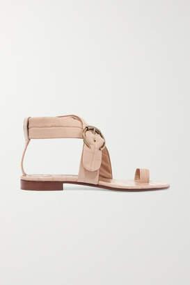 Chloé Roy Buckled Croc-effect Leather Sandals - Neutral