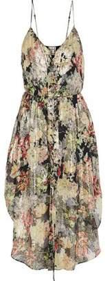 Haute Hippie Lace-Up Floral-Print Fil Coupé Silk-Blend Georgette Midi Dress
