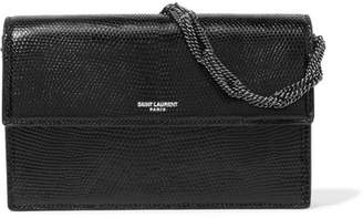 Saint Laurent Pochette Small Lizard Shoulder Bag - Black