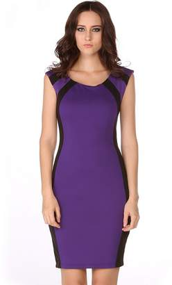 SoForYou SFY Women Optical Illusion Color Splice Slim Fitted Bodycon Party Pencil Dress
