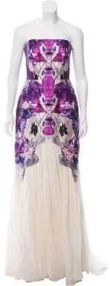 Prabal Gurung Strapless Printed Gown
