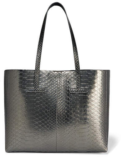 TOM FORD - T Small Metallic Python Tote - Anthracite