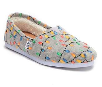 Toms Classic Glow In The Dark Tree Lights Faux Fur Lined Slip-On Sneakers