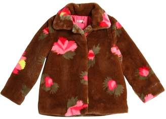Billieblush Printed Faux Fur Coat