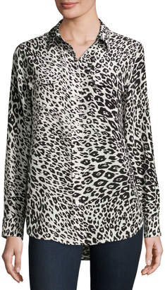 Equipment Slim Signature Animal-Print Shirt, Nature White/True Black