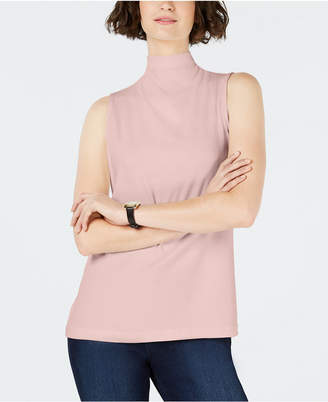 Charter Club Sleeveless Solid Textured Mock Neck Top