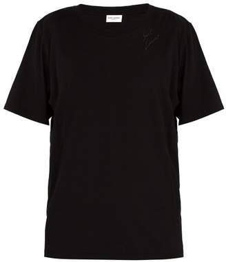 Saint Laurent Signature Print Cotton T Shirt - Mens - Black
