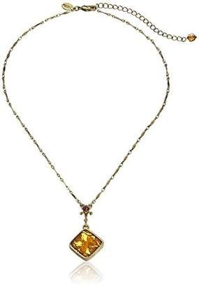 "1928 Jewelry "" Intaglios"" Gold-Tone Yellow Enamel Pendant Necklace"