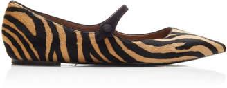 Tabitha Simmons Hermione Zebra-Print Haircalf Flats Size: 36.5