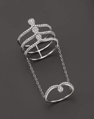 Meira T 14K White Gold Midi Chain Ring with Diamonds