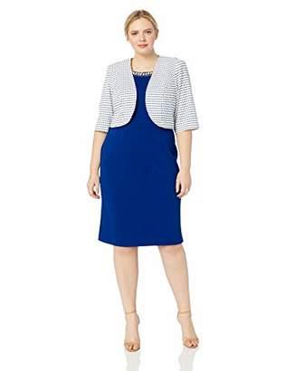 Maya Brooke Women's Plus Size Stripped Knit Jacket Dress