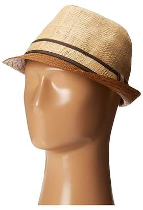 Tommy Bahama Raffia Fedora with Brown Brim Traditional Hats
