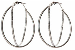 Yochi Design Yochi Silver Twisted Hoop Earrings