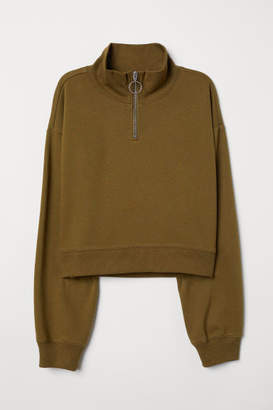 H&M Stand-up Collar Sweatshirt - Green
