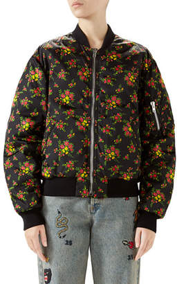 Gucci Bouquet-Print Zip-Front Woven Bomber Jacket