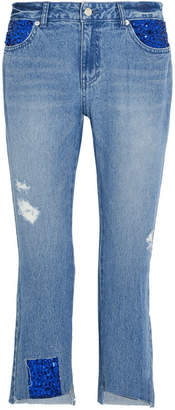 Sjyp Spangle Distressed Sequined High-rise Straight-leg Jeans - Mid denim