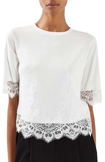 Women's Topshop Lace Trim Tee