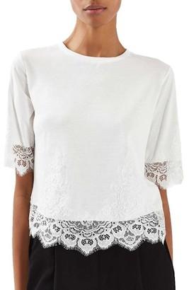 Women's Topshop Lace Trim Tee $40 thestylecure.com