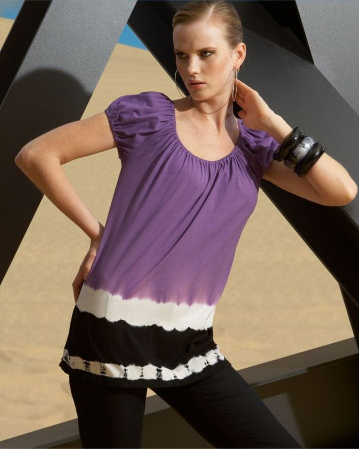 INC International Concepts Dip-Dyed Jersey Peasant Top