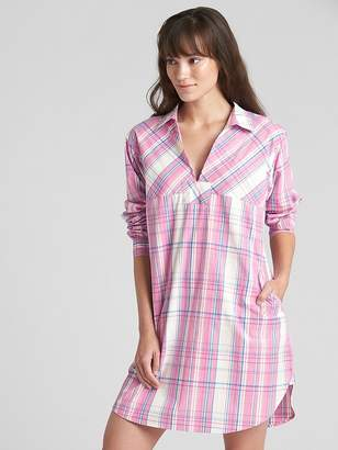Gap Poplin Sleep Shirtdress with Embroidered Detail