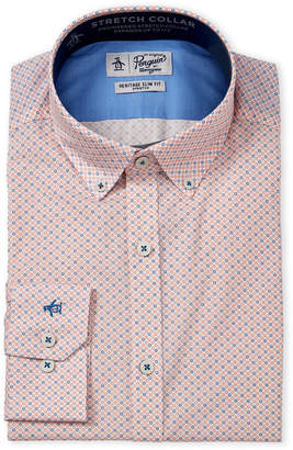 Original Penguin Medallion Print Comfort Collar Heritage Slim Fit Dress Shirt