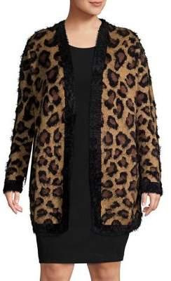 Lord & Taylor Plus Leopard Printed Faux Fur Cardigan
