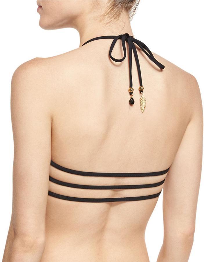 Ale by Alessandra Free Spirit Crochet-Trim Halter-Neck Swim Top, Onyx 2