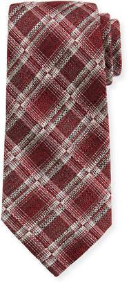 Ermenegildo Zegna Seasonal Plaid Silk/Linen Tie