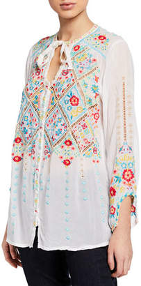 Johnny Was Plus Size Arges Embroidered Georgette Blouse