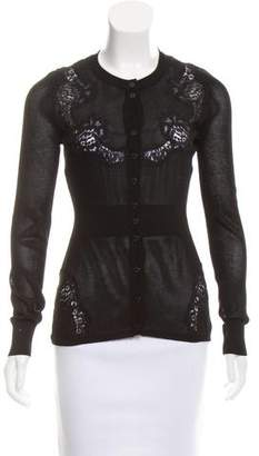 Dolce & Gabbana Mesh Lace-Trimmed Cardigan