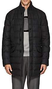 Moncler Men's Keid Down-Quilted Wool Flannel Coat-Charcoal