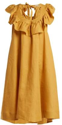 Three Graces London - Faye Tie Back Linen Dress - Womens - Yellow