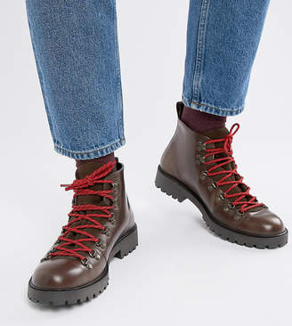 Asos Design DESIGN Wide Fit hiker boot in brown leather with flecked laces