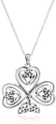 Celtic Sterling Silver Oxidized Knot Shamrock Clover Pendant Necklace