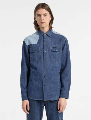 Calvin Klein western two-tone denim shirt