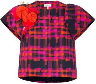 DELPOZO Short Sleeve Plaid Jacket