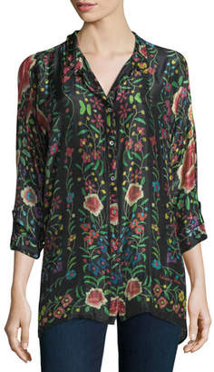 Johnny Was Emby Button-Front Floral-Print Blouse, Black/Multi, Plus Size