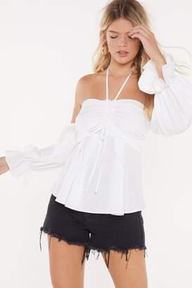 Nasty Gal Womens Ruché Halter Blouse - White - S, White
