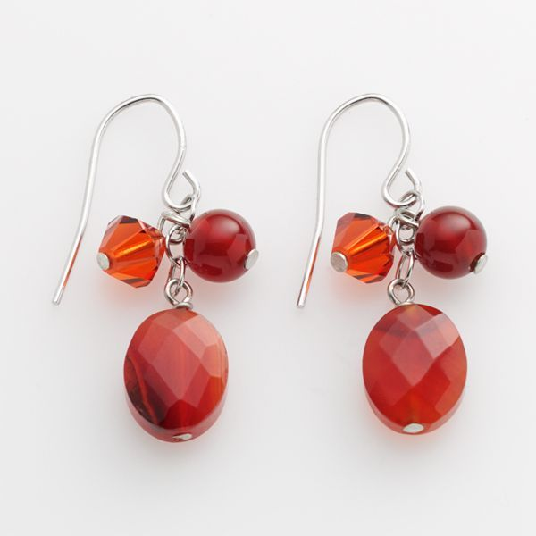 Sterling Silver Carnelian & Swarovski® Crystal Drop Earrings