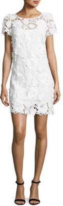 Milly Chloe Short-Sleeve 3D Floral-Embroidered Lace Dress $395 thestylecure.com
