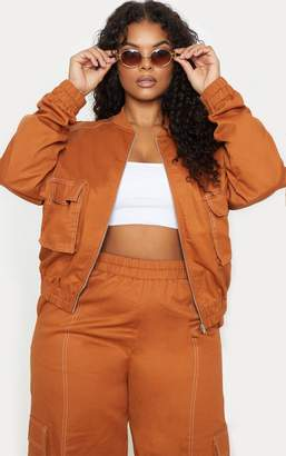 PrettyLittleThing Plus Toffee Utility Pocket Detail Bomber Jacket