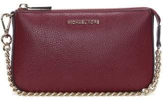 Michael Kors Mid Chain Maroon Tumbled Leather Pouchette