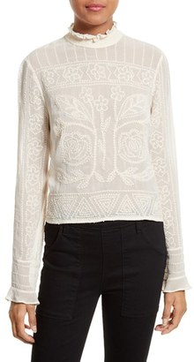 Women's Tracy Reese Embroidered Victorian Blouse $298 thestylecure.com