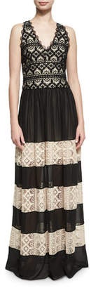 Alice + Olivia Tilly Lace Insert Maxi Dress, Black