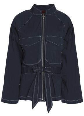 Ganni Belted Cotton-Twill Jacket