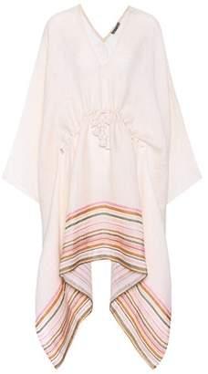 Three Graces London Striped linen drawstring poncho